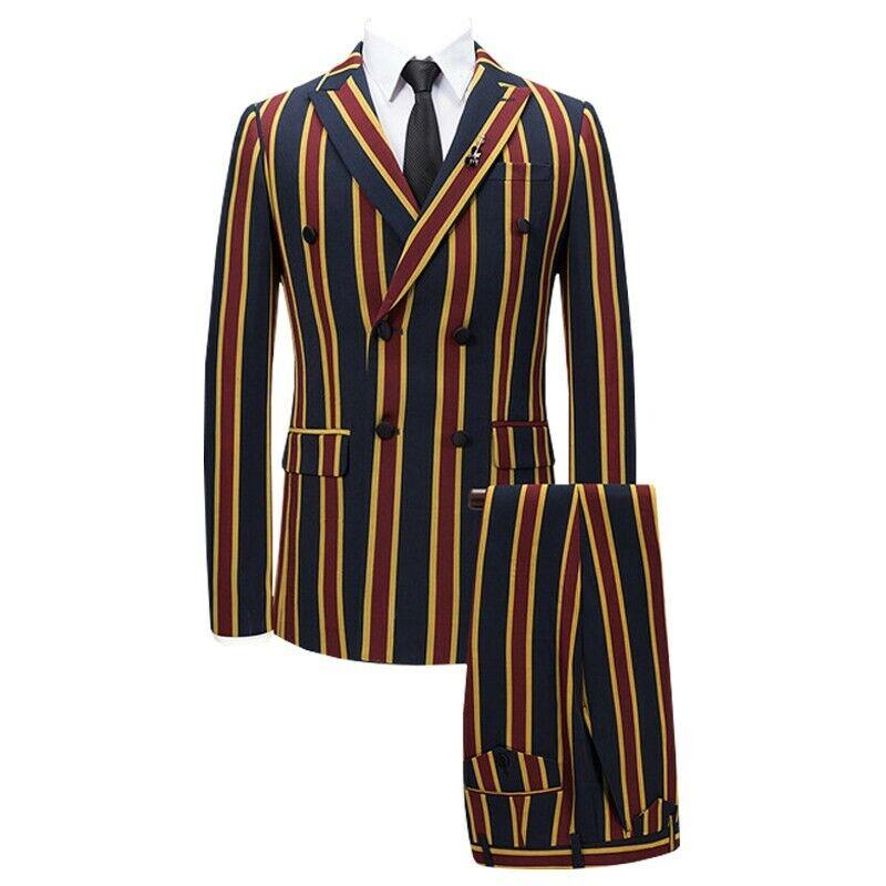 Herren Zweireihiger T Bar Streifen Druckstoff Herbst-  Frühlings Anzug Jacken