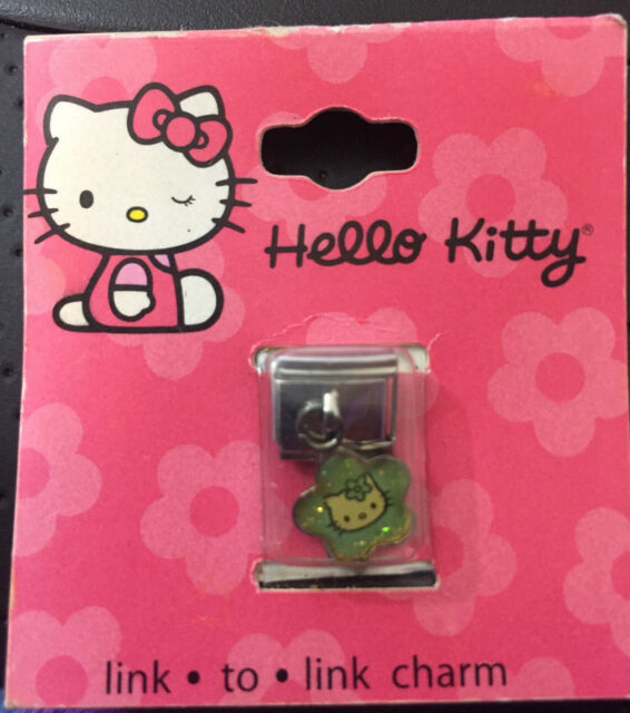 Claire's Italian Link to Link Charm Bracelet Green Hello Kitty Dangle NEW Sanrio