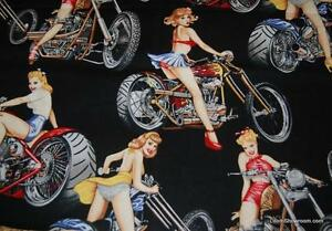 T406-Sexy-Pin-Up-Girl-Biker-Chic-Hot-Motorcycle-Bike-Lady-Cotton-Quilt-Fabric