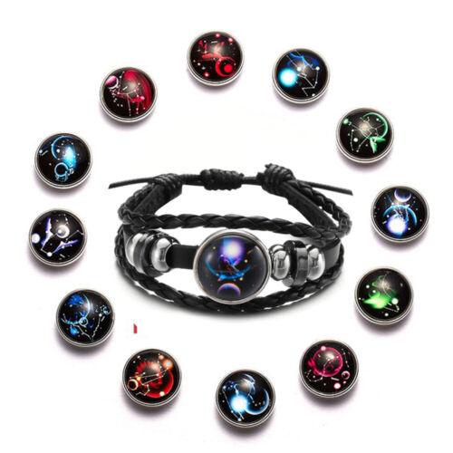 Button Geflecht Drucken von Leder 12 Sternzeichen Sternzeichen Armband Luminous