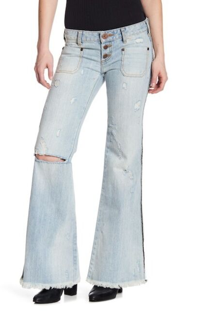 forefront of the times really cheap cheaper sale $140 One Teaspoon Florence Le Cat Wide Leg Jean Size 22 Distressed Flare  Raw Hem