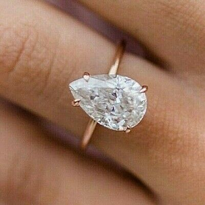 Solitaire With Accents Ring Anniversary Ring 2.50 TCW 14K Rose Gold Over Pear Cut D Color White Simulated Moissanite Wedding Set Ring