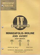 Minneapolis Moline Amp Avery Mm 2a A R V Bf Bg Gta Iampt Tractor Manual