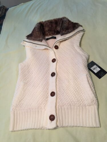 Vest Collar Cream W Faux Rivet Nwt Sweater Women's Størrelse Fur Black Med Hwgn87qpxx