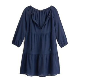 XS J.Crew Tiered Beach Tunic Crinkle Cotton Dress Navy Blue Cover Up XS Women's