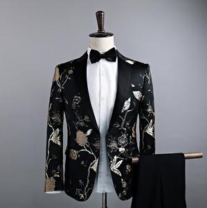 impreso floral de chaqueta traje discoteca boda Mens de capa vestido Blazer la delgada solapa d0wxqCEn