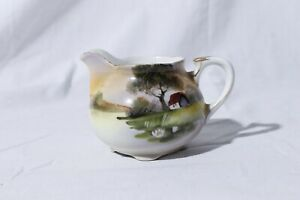 Antique-Nippon-Hand-Painted-Cream-Pitcher-Cabin-By-Water-Scenery-2-75-034-Tall