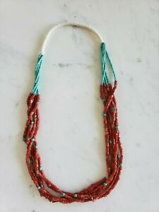 900-5-Strand-Necklace-Heshi-VTG-Turquoise-Coral-Beads-30-034-100-Gram