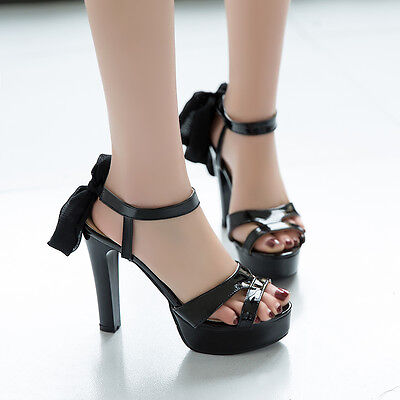 sexy women's strappy platform block high heel shoes ankle