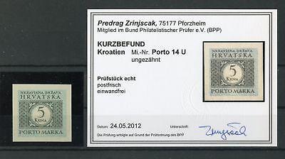 Briefmarken 132701 Kroatien-porto Nr.14u ** UngezÄhnt Befund Zrinjscak Bpp !!!