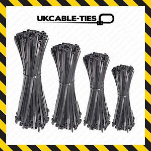 Cable-Ties-Black-100-140-200-250-300mm-Nylon-Zip-Tie-Wraps-Various-Sizes