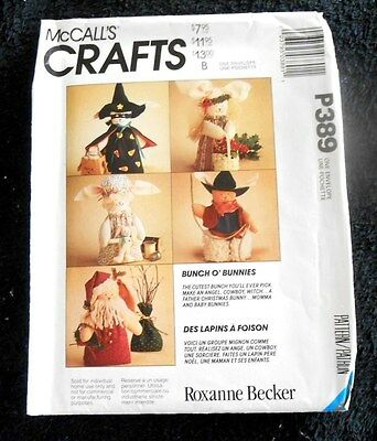 "McCall's Crafts Pattern P389 6220 Bunch O' Bunnies 7"" bunny dolls - New, Uncut"