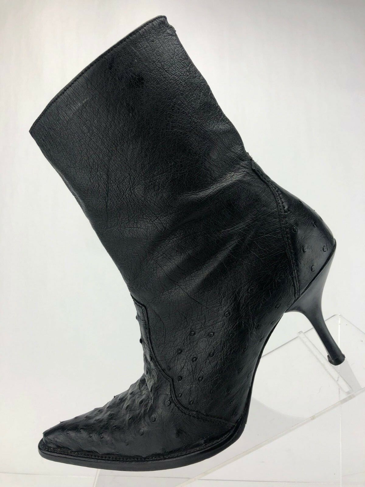 Frida Cuadra Boots Ostrich Print Black Leather Side Zip Ankle High Womens Size 9