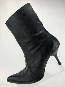 20e13b60be27 Frida Cuadra Boots Ostrich Print Black Leather Side Zip Ankle High ...