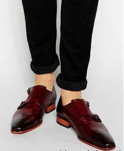Mens Handmade shoes Burgundy Leather Monk Strap Formal Dress Casual Wear Boots