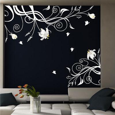 Large Vine Flower Butterfly Vinyl Wall Art Stickers 026