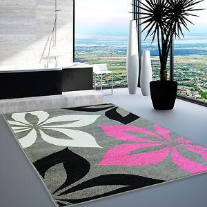 Tapis Design Moderne Salon Modèle Fleur gris rose crème noir Öko-Tex ...