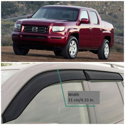 HE14505 Window Visors Guard Vent Wide Deflectors For Honda Ridgeline 2005-2014