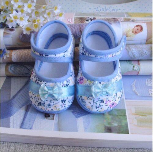 Blue cotton print bowknot Cotton shoes Soft bottom baby Girls shoe 3-14 months