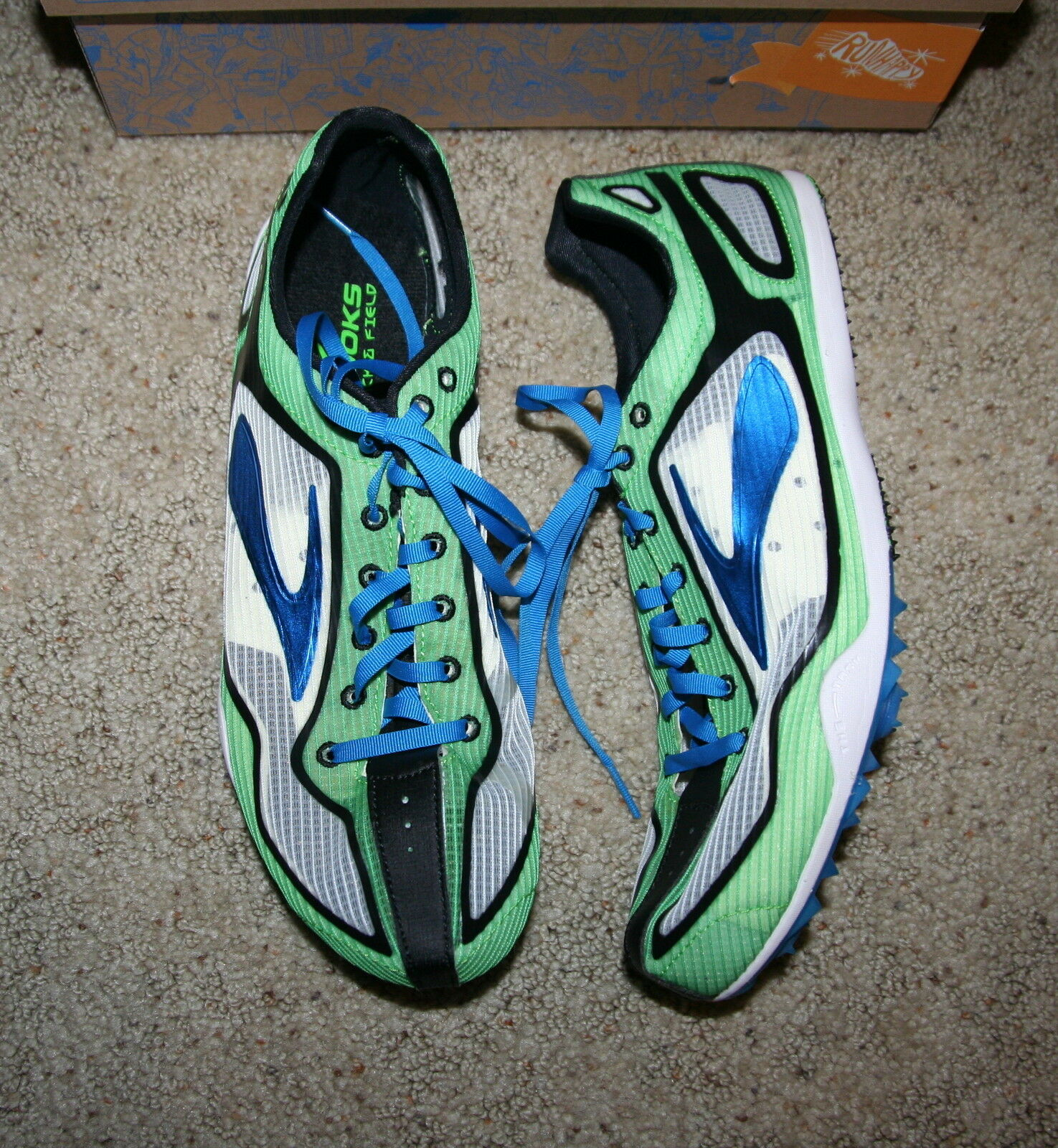 ba2d69a35df9c ... NEW  100  100  100 Brooks WIRE 2 Running TRACK SPRINT Shoe SPIKES blue  GREEN 10.5