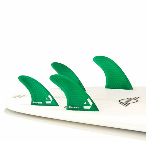 Honeycomb FCS Base Green 4 Dorsal Surfboard Fins Hexcore Quad Set
