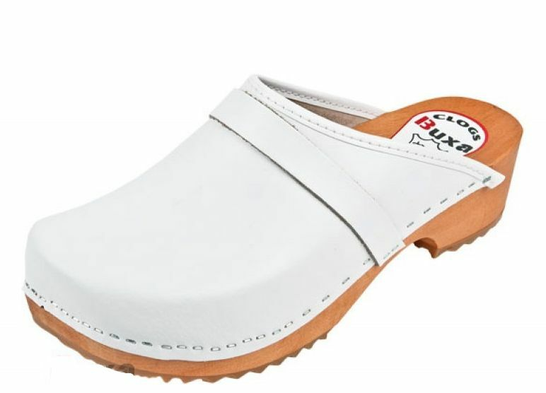 Wooden  leather clogs  F1  White color      Women
