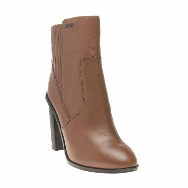 New Womens Superdry Tan Ashton High Chelsea Leather Boots Ankle Elasticated Zip