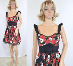 c3134f3b0f4 Hot Topic Mini Black Red Rose Sugar Skull LaceUp Full Skt Tulle Goth ...