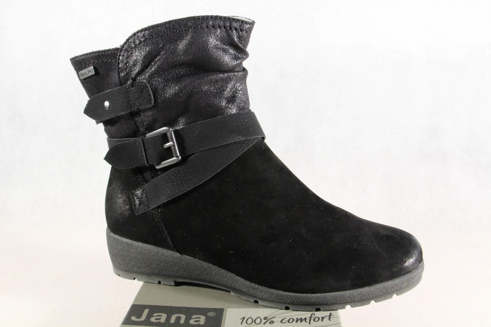 Grandes zapatos con descuento JANA -tex Botas Mujer Botas botines botas de invierno Negro Cuero Aut. NUEVO