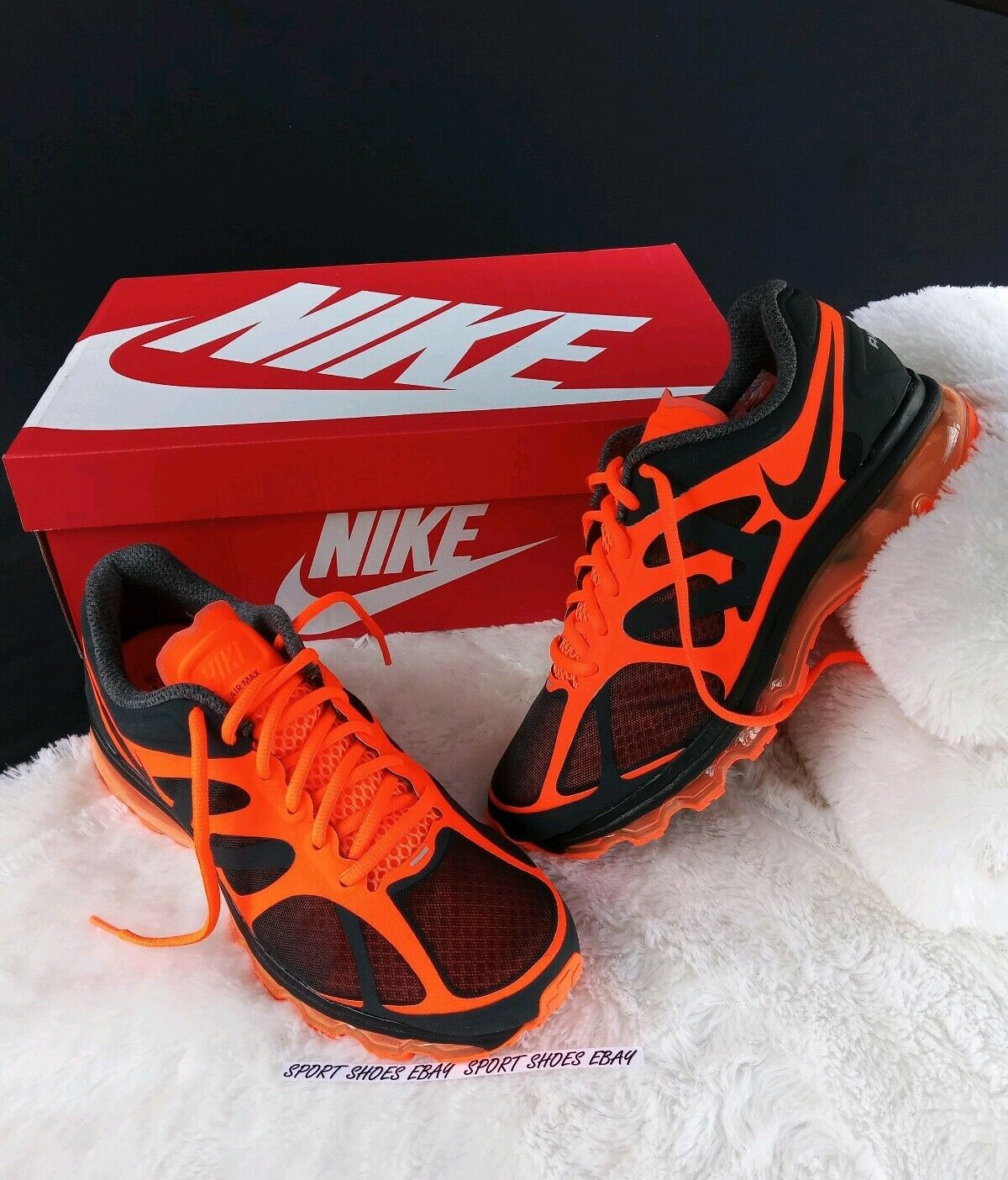 Size 8 men's Nike Air Max+ 2012 orange Black Athletic Running shoes casual