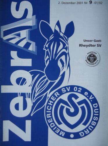 Programm 2001/02 MSV Duisburg Am Fußball Rheydter SV