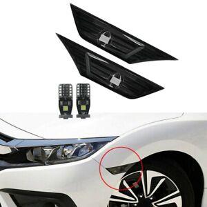 Smoke Tinted Lens Side Marker Lamp Light W/ Led for 2016-19 Honda Civic JDM N7E5