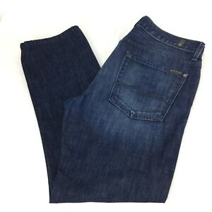 Seven-For-All-Manknd-Mens-Slimmy-Jeans-36-x-29-Dark-Faded-Wash-Whiskered-36x29