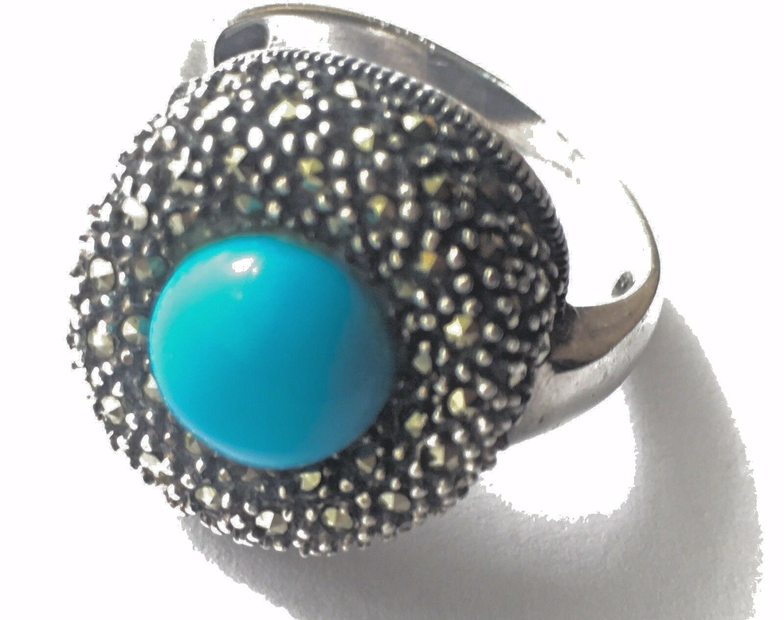 Sterling Turkish Turquoise Marcasite Ring  7, Marked 925