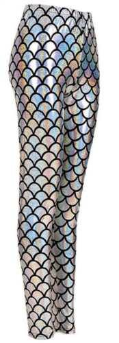 Femme Sirène Écailles De Poisson Brillant Imprimé Slim Fit Pantalon Leggings 8-22