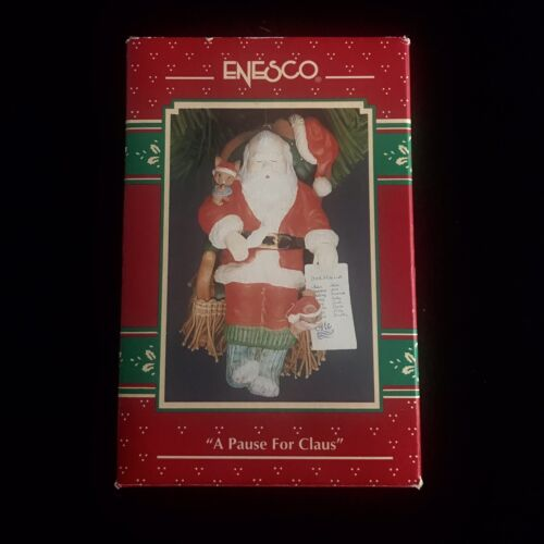Enesco A Pause For Claus Christmas Ornament 1993 Vintage New