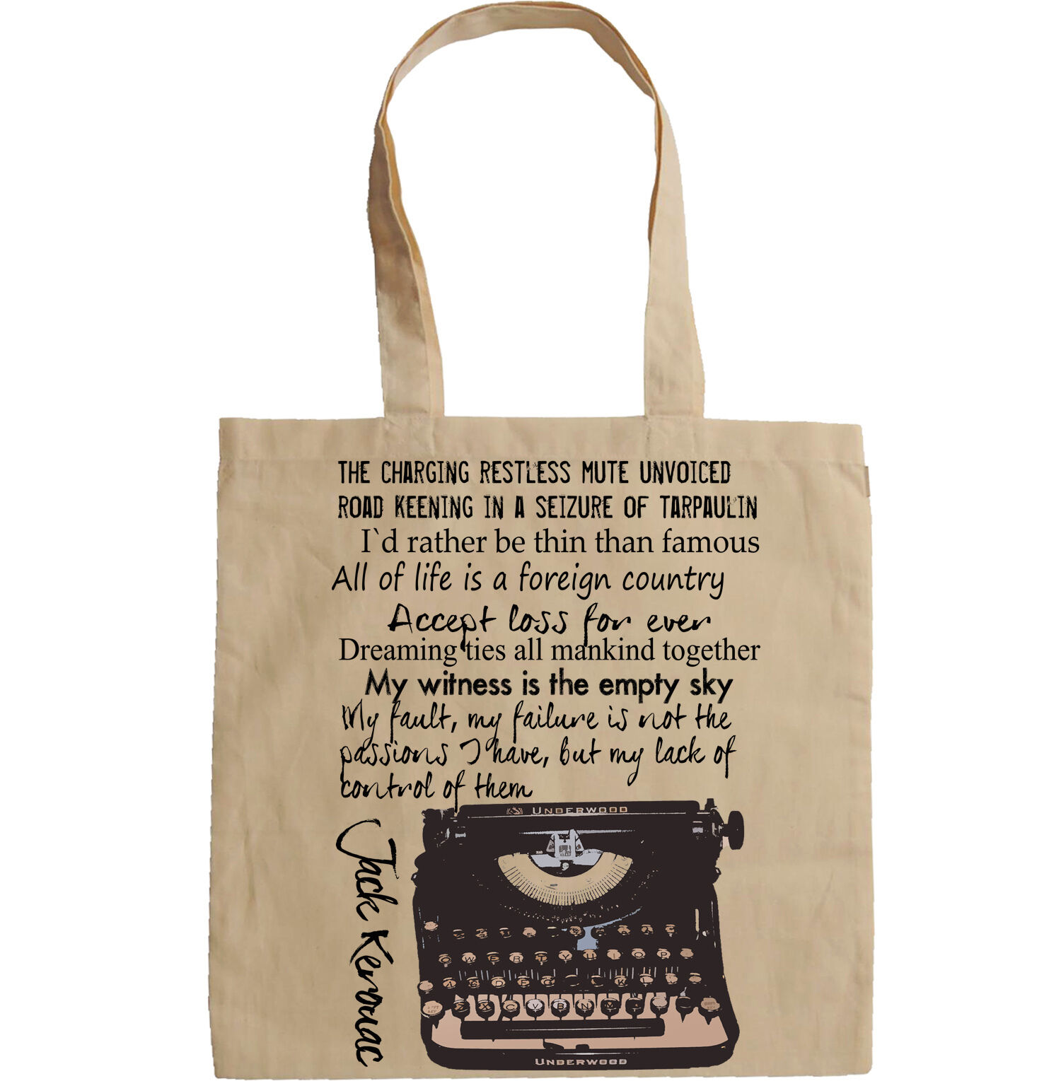 Details about JACK KEROUAC TYPE WRITER QUOTES - NEW AMAZING GRAPHIC HAND  BAG/TOTE BAG