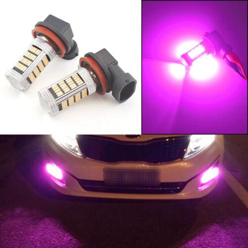 2pcs Bright Pink H11 H8 Car Truck Pickup Fog Light Driving Lamp 92-SMD LED Bulbs
