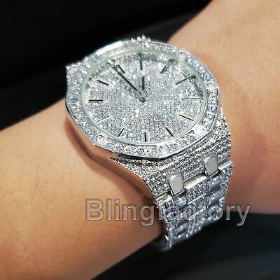 Men S Luxury Designer Style Bling White Gold Pt Simulated Diamond Bracelet Watch Ebay