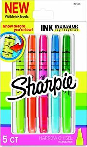 Sharpie Ink Indicator Stick Highlighters, Chisel Tip, Assorted Colors, 5 Pack