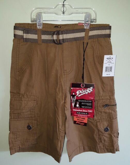 NWT $40 Plugg Boys Trekker SZ 10 Belted Cargo Shorts BROWN Longer Length  #22417