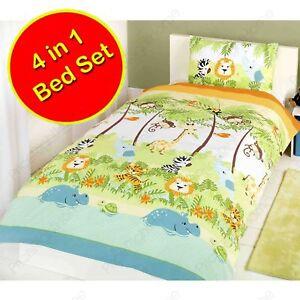 Jungle-Boogie-4-IN-1-Junior-Ensemble-de-Housse-Couette-Literie-Bundle-Elephant