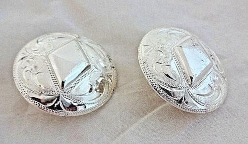 """Hansen 1 1//2/"""" Conchos argent plaque têtière Poli Diamant Bride Boucle Cheval"""