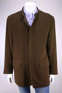 Ermenegildo-Zegna-Marron-Cotton-Wool-Velours-3-Btn-Voiture-Blazer-Manteau-XL-44
