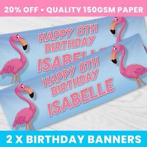 Personalised Flamingo Birthday Banner Children Party Banner x 2