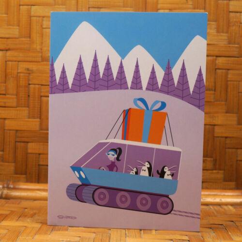 Shag Christmas Card Snow Vehicle Penquins Present Tuxedo MCM Josh Agle