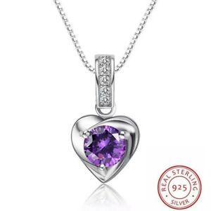 Damen-Halskette-Herz-echt-Silber-925-Sterling-mit-Zirkonia-Anhaenger-Schmuck-Dame