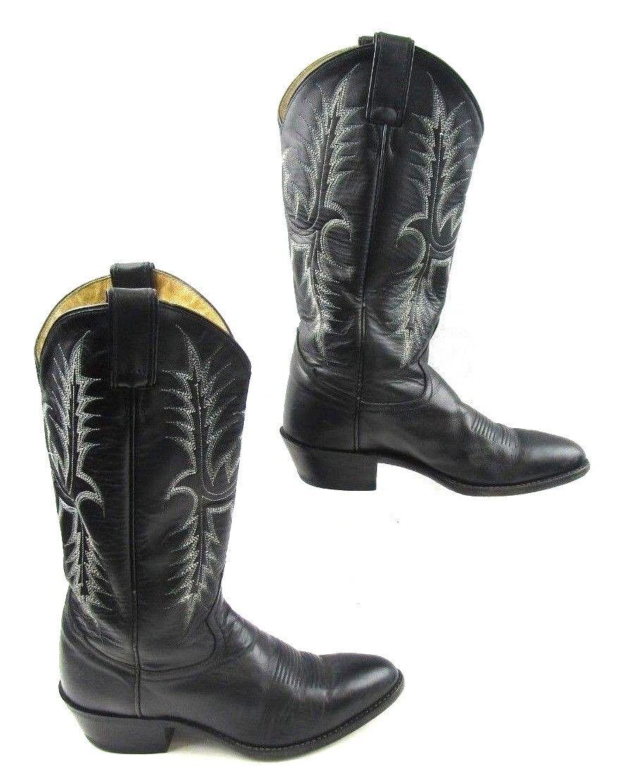 Mens Tony Lama Black Leather Cowboy Boots Size   7 D
