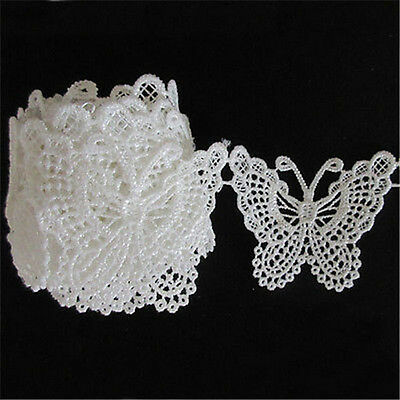 1M Vintage Cotton Butterfly Bow Lace Trim Ribbon Wedding Applique Sewing Craft