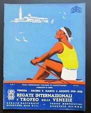 Programma regolamento REGATE INTERNAZIONALI TROFEO VENEZIE 1939 canotaggio PNF
